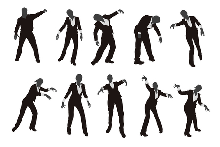 walking corpse: illustration of set of different zombie silhouettes isolated Illustration