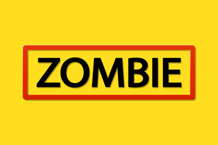 invation: illustration of word zombie on yellow background with red frame