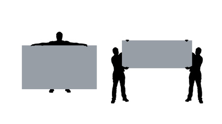 demonstrator: illustration of colored mans silhouette with banner on white background