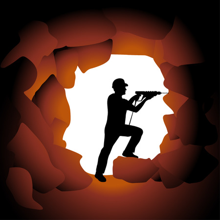 digger: illustration of silhouette worker doing job in the cave Illustration