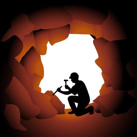 洞窟の中で仕事をしているシルエット ワーカーのイラスト