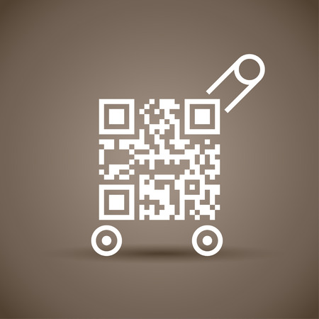 illustration of qr code with cart white color on brown picture