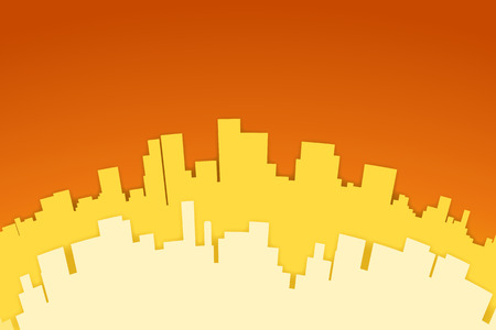 colores calidos: Ilustraci�n de la silueta de papel de la ciudad en colores c�lidos