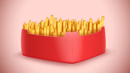 frites: illustration of big red color box full french fries with shadow Illustration