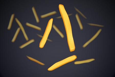 frites: illustration of flying french fries on dark grey background Illustration