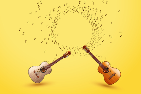 wooden circle: illustration of classic wooden guitar with with signsin circle on yellow background Illustration