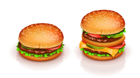 hamburger bun: illustration of set of four different hamburgers on white background with reflection