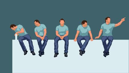 Ilustración del hombre sentado silueta en diferentes poses Foto de archivo - 49354704