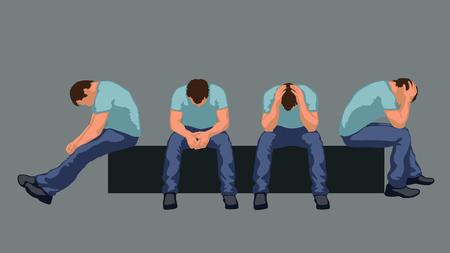 Ilustración del hombre sentado silueta en diferentes poses Foto de archivo - 49354705