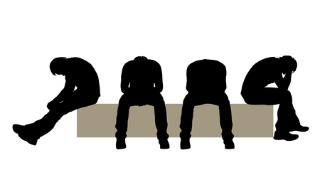 people sitting: illustration of man sitting silhouette in different poses