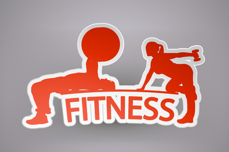 sport fitness: illustration of sport or fitness paper icon with silhouettes and shadow on grey background