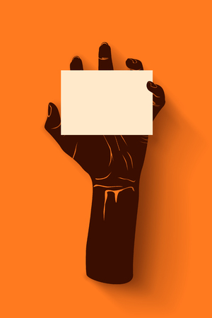 monster movie: illustration of zombie hand grabing white color card on orange background Illustration