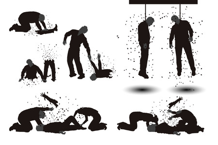 illustration of set of different zombie silhouettes isolated Vettoriali