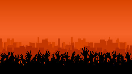illustration of a lot of hands up in front of big city Zdjęcie Seryjne - 49354898