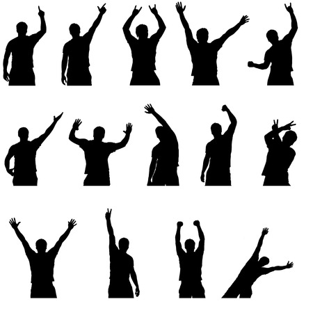 black people dancing: set of different silhouettes of dancing men Illustration