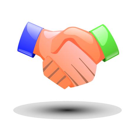 handshaking: illustration of handshaking of two peoples coloured