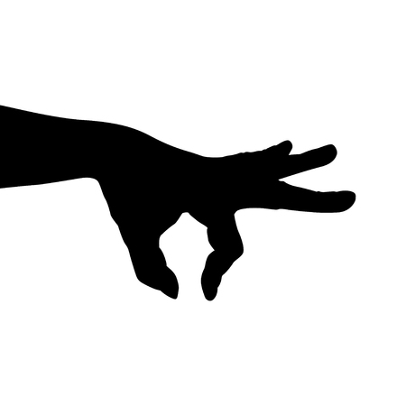 hand silhouette: illustration of silhouette male hand taking something Illustration