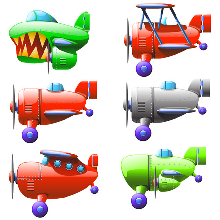 private jet: cartoon illustration of set of different types of airplanes flying