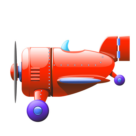 private jet: cartoon illustration of red single airplane flying