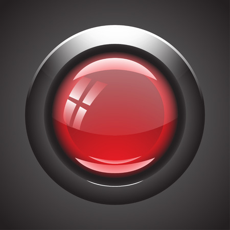 red button: illustration od realistic red blank button with grey fringing behind. on grey black background Illustration