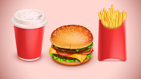 three objects: illustration of set of three objects such as hamburger french fries and coffee
