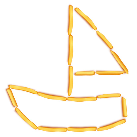 fattening: illustration of sail boat silhouette maded from french fries on white Illustration