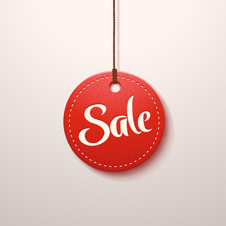 illustration of red color paper sale label with shadow