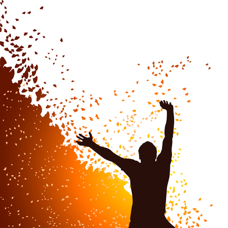 exaltation: illustration of man silhouette with hands up with some color parts Illustration