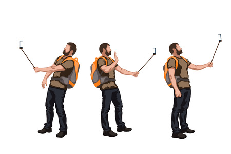 smart man: illustration of set of male color tourist in different poses