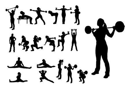 bodybuilder training: illlustration of female silhouette in different poses working out Illustration
