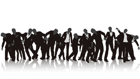 illustration of zombie silhouette crowd on white background with reflection