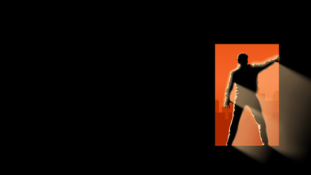 illustration of zombie man silhouette in the darkness Illustration