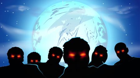 ojos negros: Ilustración de un grupo de zombis con los ojos rojos