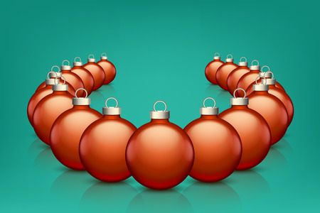 color reflection: illustration of set of red color xmas balls with reflection