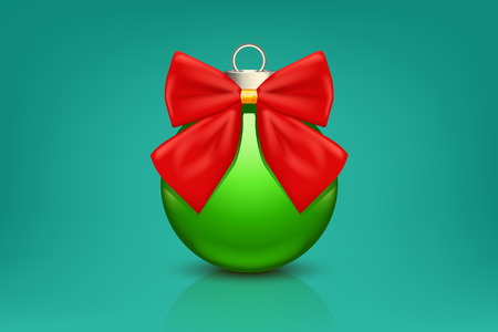 chrstmas: illustration of green xmas ball with red bow on green background Illustration