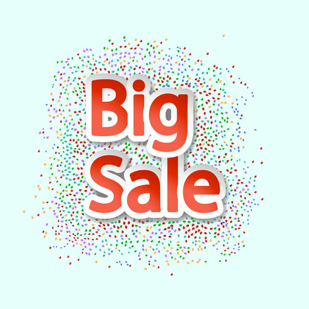 bomb price: illustration of paper big letters big sale with some pieces of paper Illustration