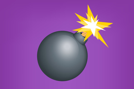 bomb explosion: illustration of metal bomb on violet background