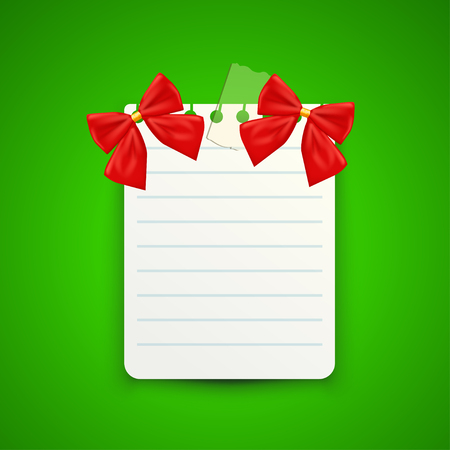 golden background: illustration of pair red color xmas bows on white paper on green background