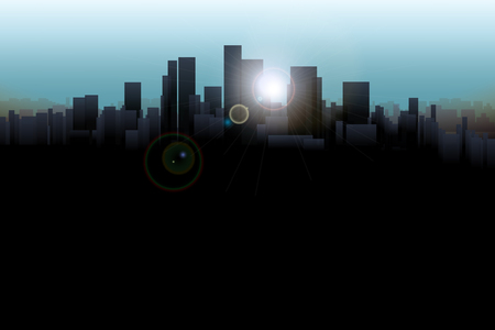 sunshines: illustration of silhouette of the big city with sunshines Illustration