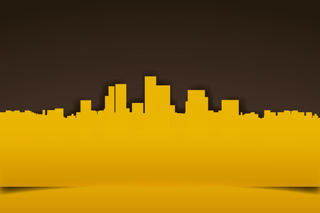 warm: illustration of paper silhouette of city in warm colors Illustration