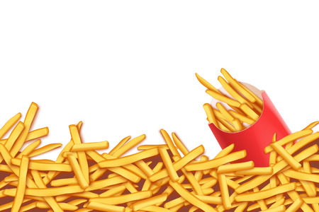 unhealthy food: illustration of a lot of french fries with red pack on white background Illustration
