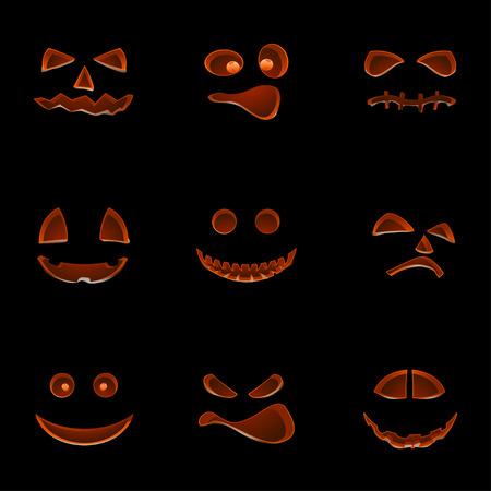 Illustration des Satzes verschiedener Halloween-pumpkings auf einem Schirm mit Reflexion