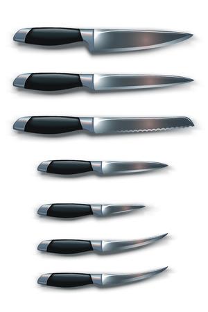 the knife: Ilustraci�n de conjunto de los diferentes tipos de cuchillos con sombras sobre fondo blanco