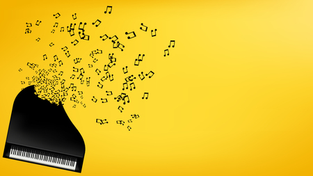 black piano: illustration of black piano explosion of signs on yellow background