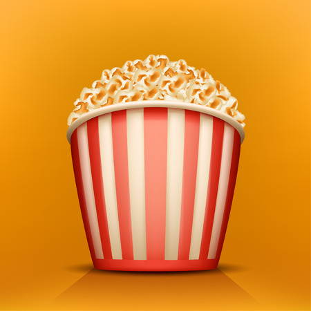 popcorn bowls: illustration of red white cup full of popcorn on yellow background