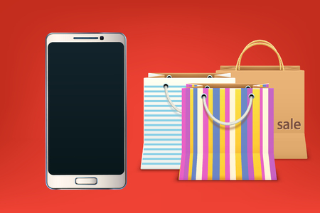 illustration of internet sale. smartphone in front and a lot of bags behind