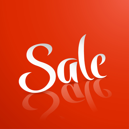 illustration of sale letters with reflection on red background