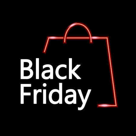 thanksgiving day symbol: illustration of black friday big sale with bag shape on dark background Vettoriali