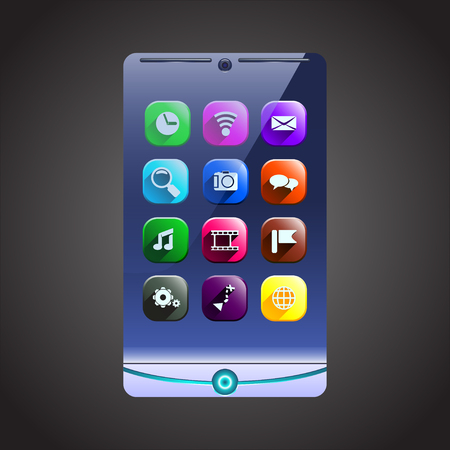 phone button: illustration of future smart phone with icons on display. on dark background