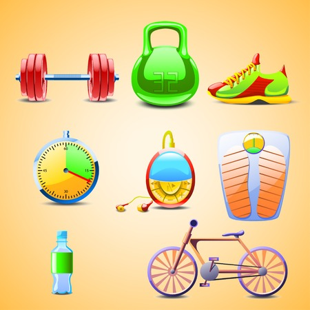 illustraion: cartoon illustraion of set different objects for sports